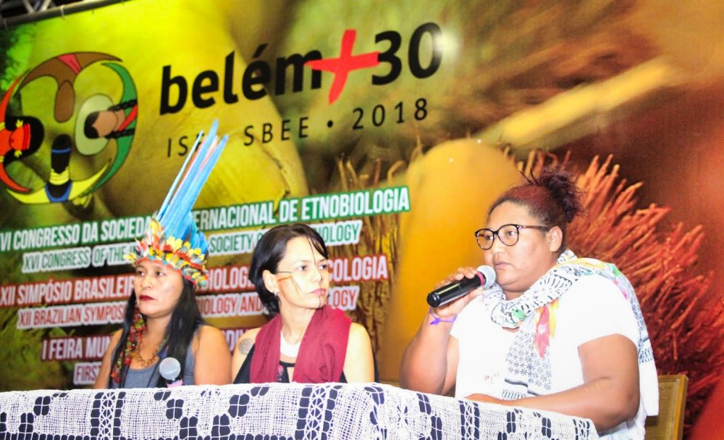 Afro-Brazilian traditional peoples and indigenous peoples during closing ceremony